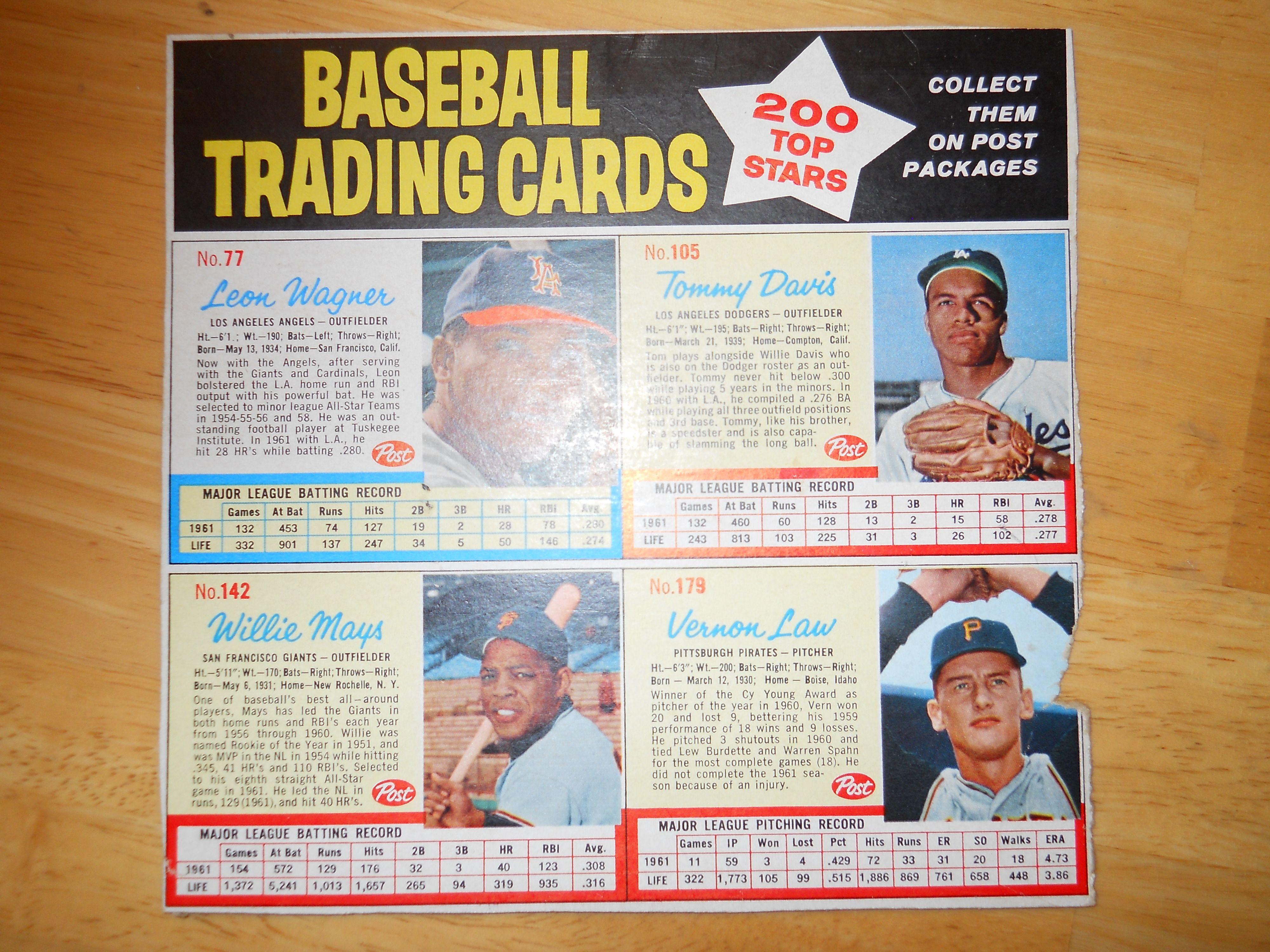 Lot Detail 1962 Post Cereal Baseball Card Uncut Sheet Willie Mays