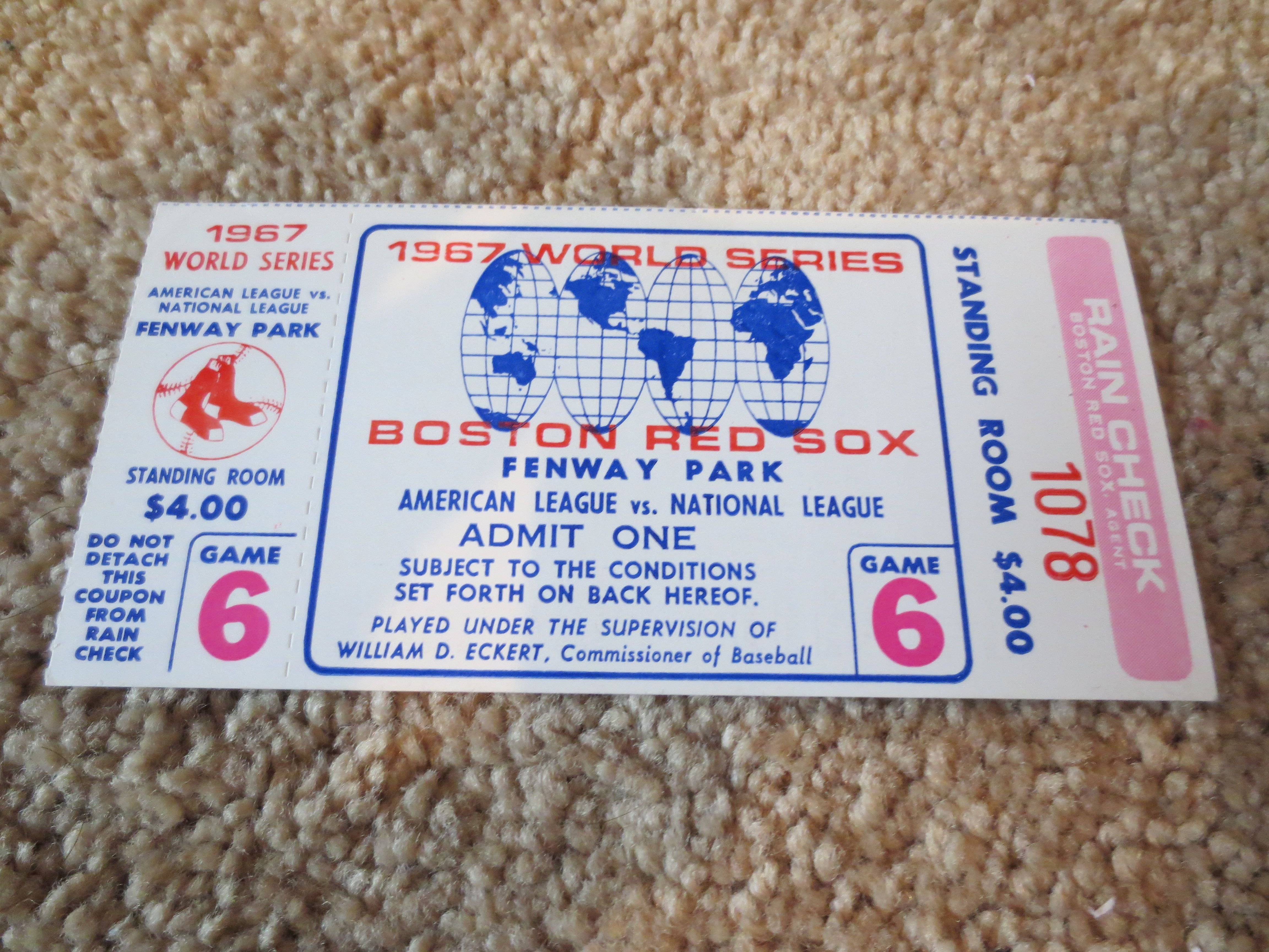 1967 World Series Game 6 Ticket Boston Red Sox St Louis Cardinals Fenway Park Yaz