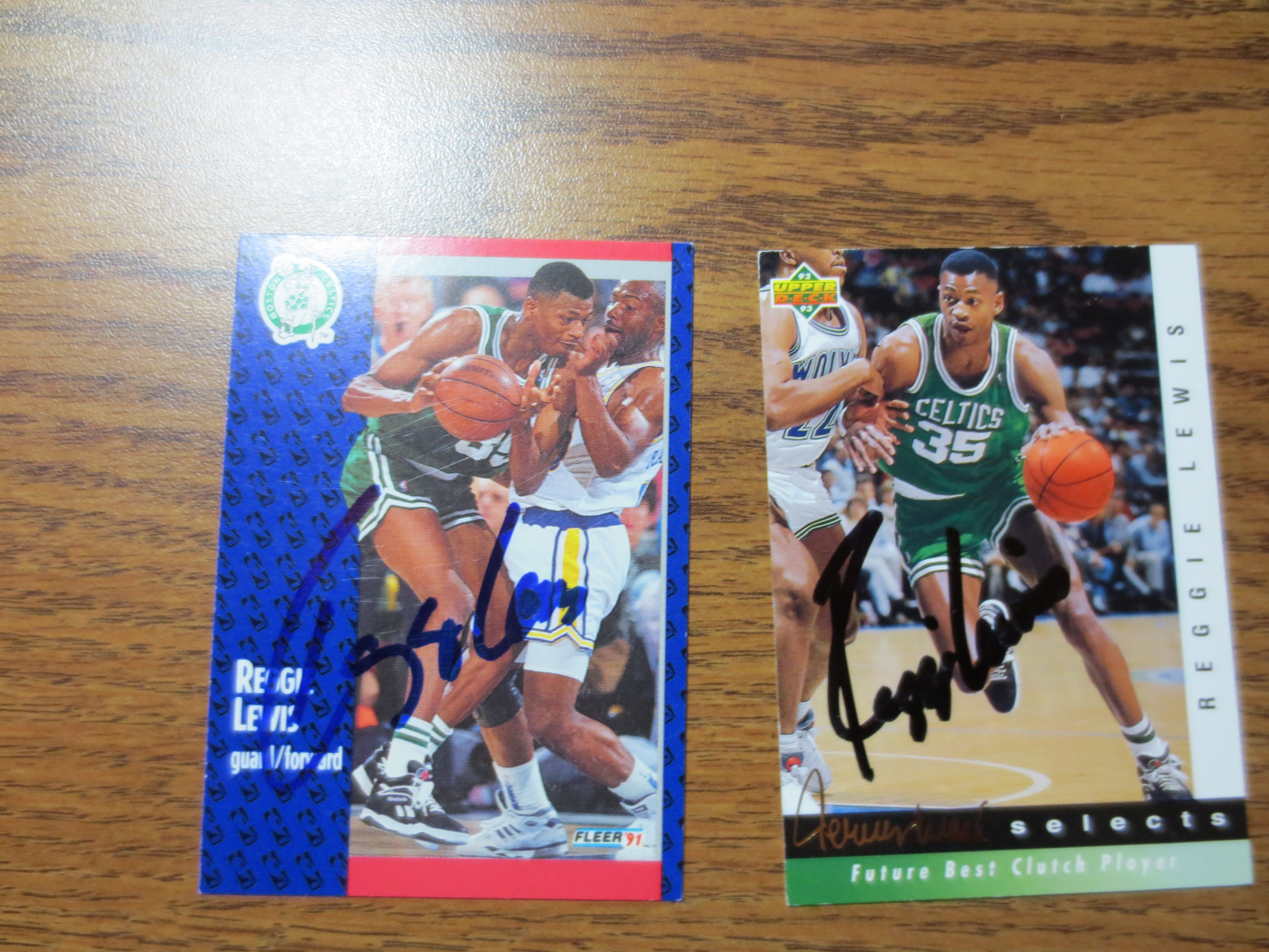 Lot Detail Two Reggie Lewis Autographed Basketball Cards Boston