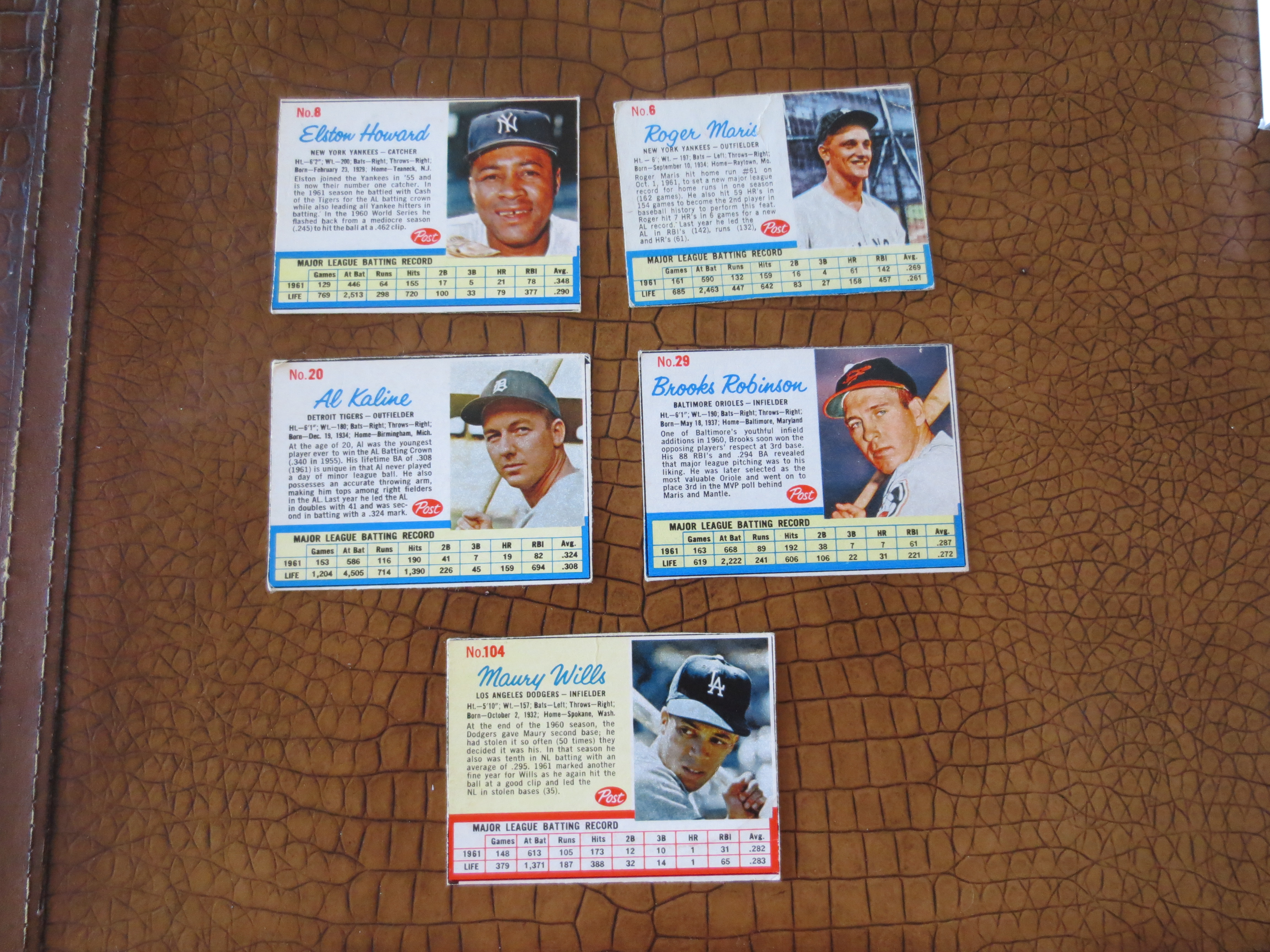 Lot Detail 5 1962 Post Cereal Baseball Cards Roger Maris