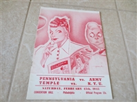 1945 College Basketball Doubleheader program: Penn/Army & Temple vs. NYU  Dolph Schayes