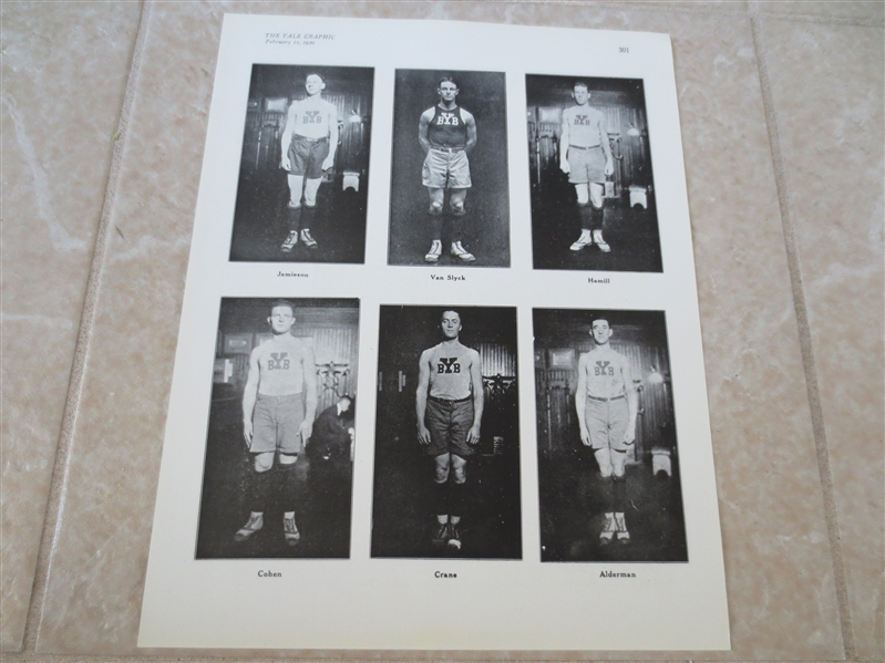 1920 Yale University Basketball Print and write-up with all the starters