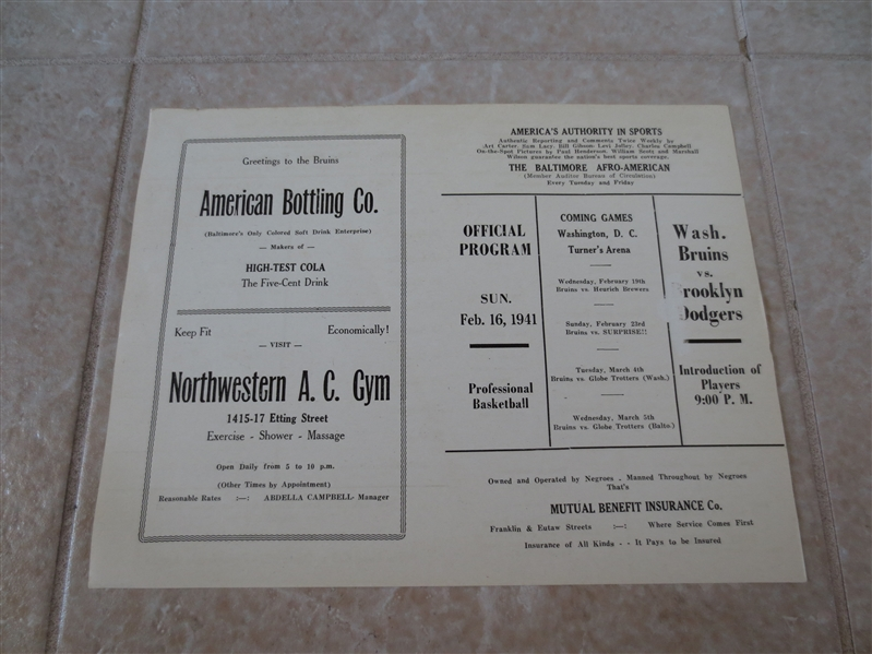 1941 Negro League Basketball program Washington Bruins vs. Brooklyn Dodgers