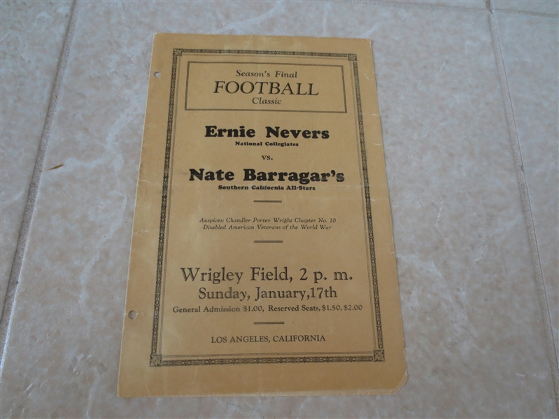 1932 Ernie Nevers National Collegiates vs. Nate Barragar's Southern California All Stars football program
