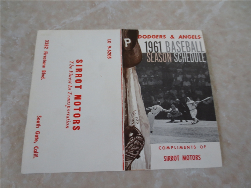 1961 Los Angeles Dodgers & Los Angeles Angels 1st year pocket schedule  Sirrot Motors RARE!
