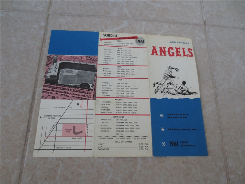 1961 Los Angeles Angels schedule and seating plan 1st year  Wrigley Fieild RARE!  blue