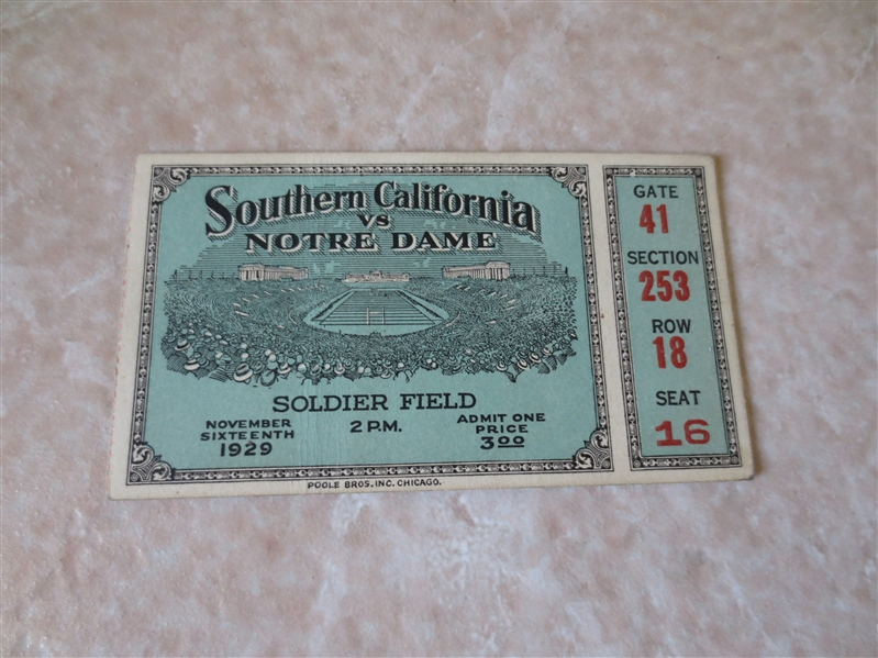 1929 USC vs. Notre Dame football ticket stub  Played at Soldier Field