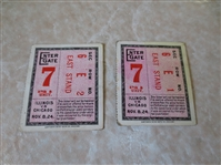 (2) 1924 Illinois at Chicago football ticket stubs with Red Grange