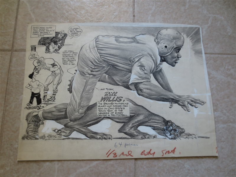 1950's Original Art from The Sporting News Bob Willis Hall of Famer Cleveland Browns  13 x 18