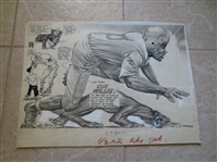 "1950s Original Art from The Sporting News Bob Willis Hall of Famer Cleveland Browns  13"" x 18"""