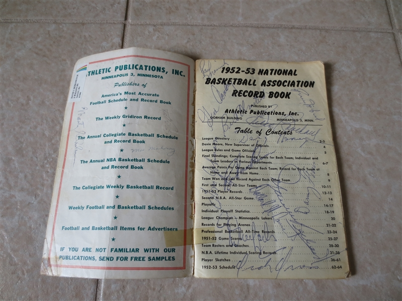 Autographed 1952-53 NBA Record Book with EVERY PLAYER AUTOGRAPH!  WOW!