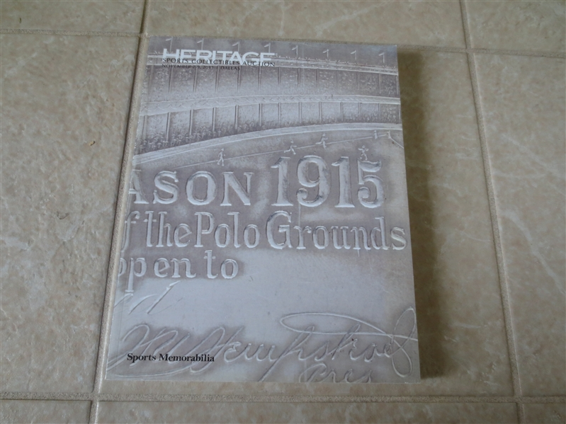 November 2013 Heritage Sports Memorabilia Auction Catalog Polo Grounds cover