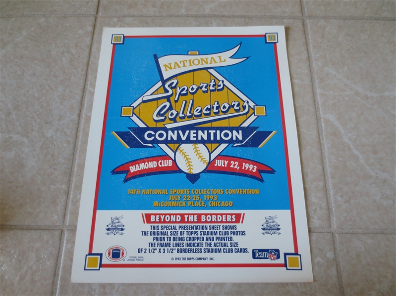 1993 National Sports Collectors Convention Promotional Advertisement with 9 football cards