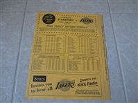 1967 San Francisco Warriors at Los Angeles Lakers scorecard West, Baylor, Barry, Thurmond