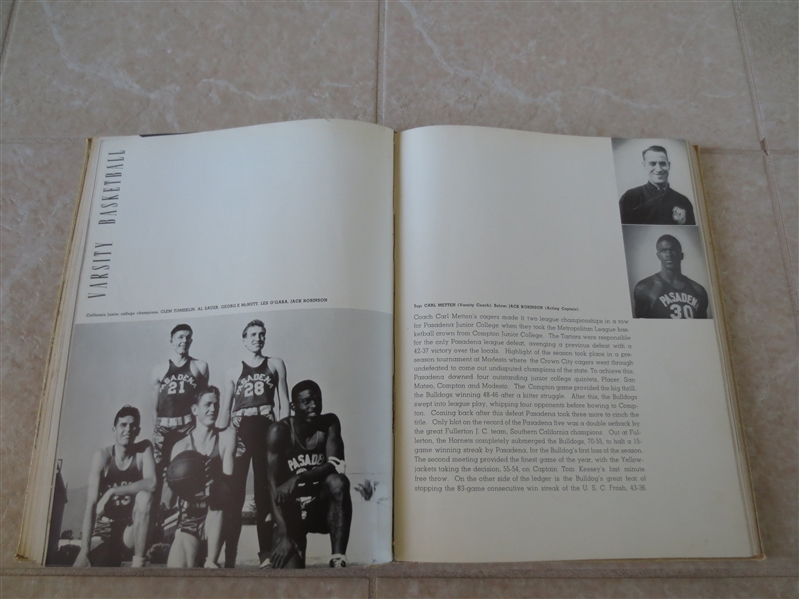 Jackie Robinson 1939 Pasadena City College school yearbook with numerous pics of Jackie