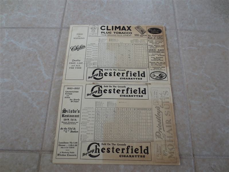 1922 Cincinnati Reds at New York Giants scored baseball program plus ticket stub and news clippings