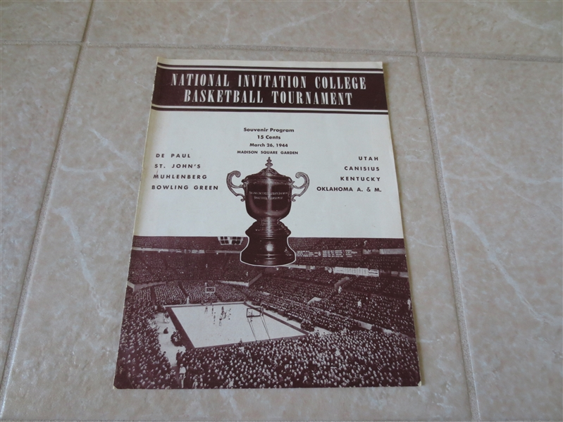 1944 NIT Basketball Finals Tournament program St. John, OK A & M, Kentucky, DePaul