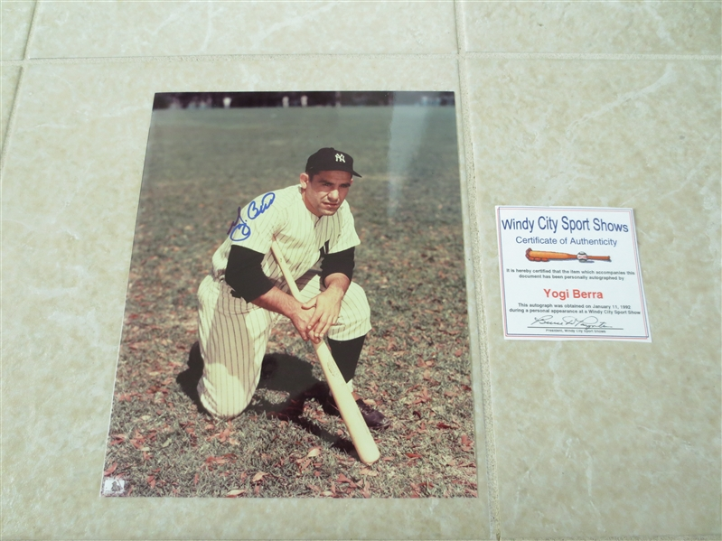 (4) Autographed Yogi Berra, Dave Winfield, Catfish Hunter, and Bob Feller Individual Color Photos