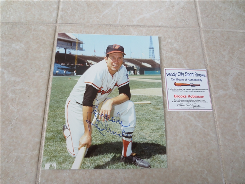 (4) Autographed Duke Snider, Steve Carlton, Bob Gibson and Brooks Robinson Individual Color Photos