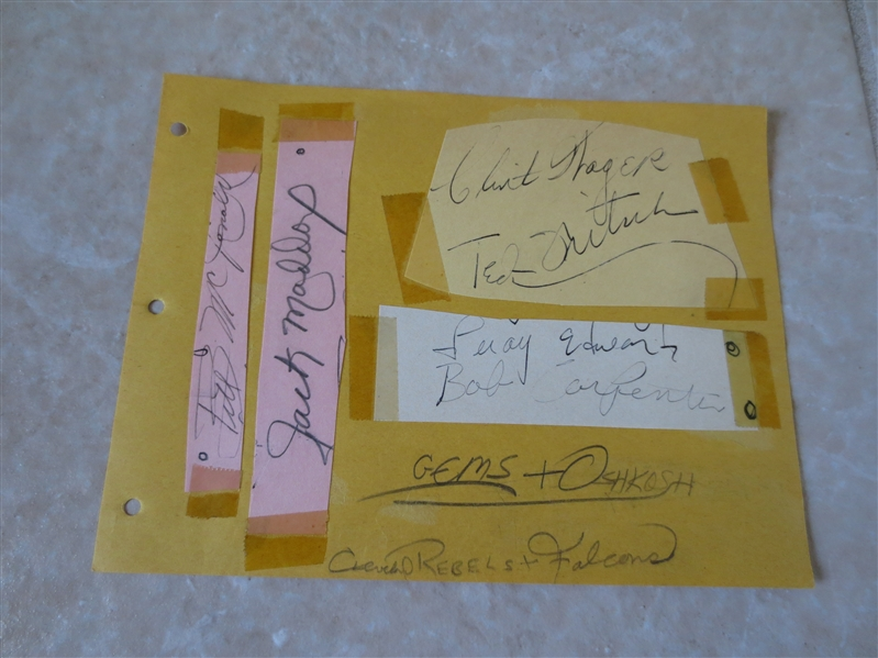 1946-47 BAA Basketball Autographs: Leroy Edwards, Ted Fritsch, Bob Carpenter, Clint Thager, Bill McDonald, Jack Maddox