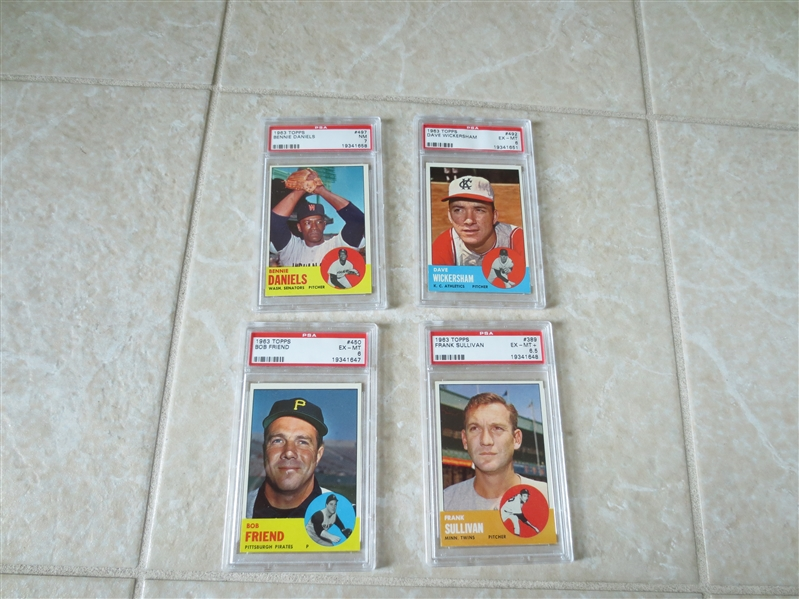 (4) 1963 Topps baseball cards PSA 6, PSA 6.5, and PSA 7