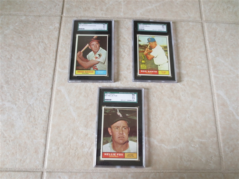 (3) 1961 Topps Baseball HOFers and SGC graded:  Brooks Robinson, Nellie Fox, Ron Santo rookie