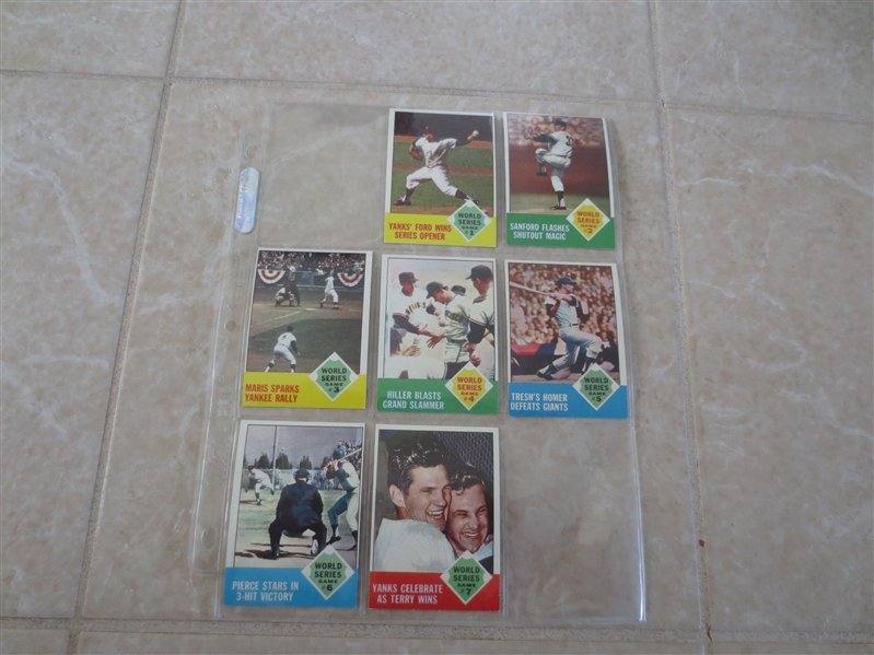 1963 Topps World Series baseball cards FROM VENDING!  #142-148  Beautiful!