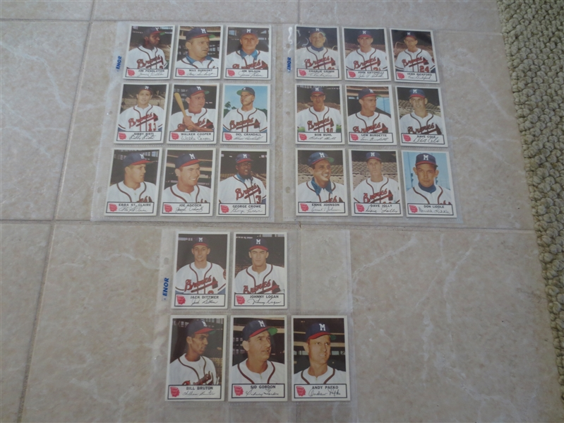 1953 Johnston Cookies Braves complete set minus Spahn and Mathews  Beautiful condition!