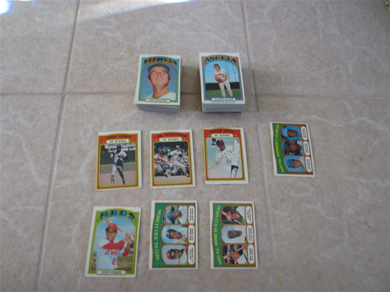 (145) 1972 Topps Baseball cards including Yaz, Aaron, and Mays in Action cards