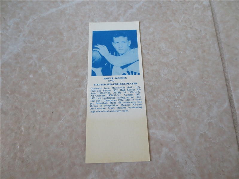 1968 John Wooden Hall of Fame Bookmark  super condition