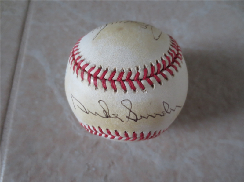 Autographed Duke Snider, Dale Murphy, Clyde King, George Shuba, Bill Pierce Rawlings National League Ball