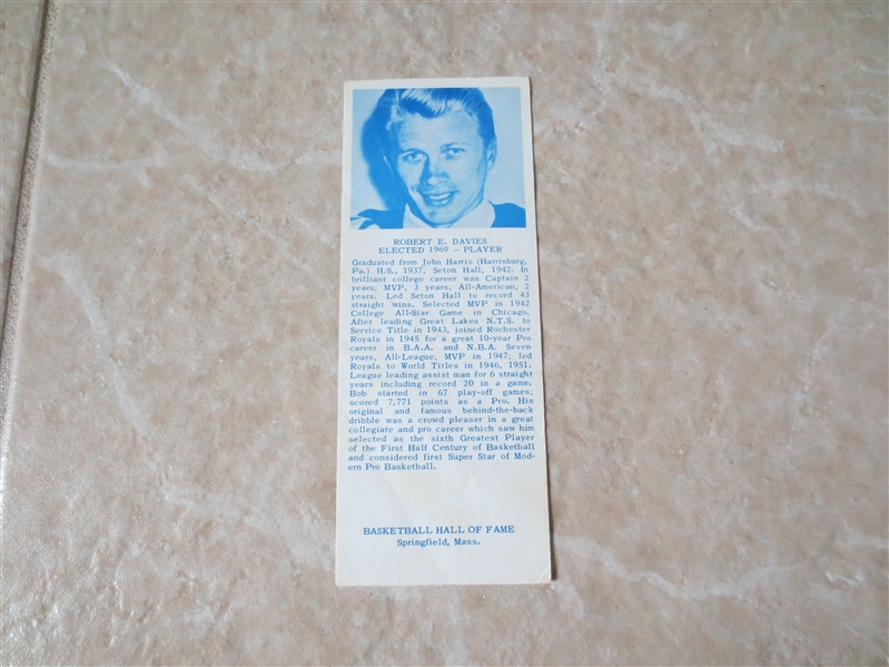 1969 Robert Davies Hall of Fame Bookmark  RARE!
