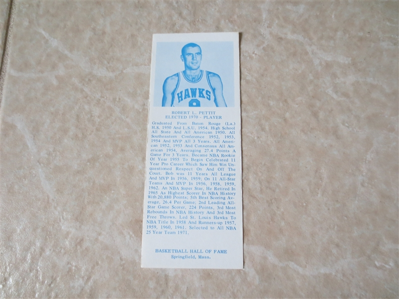 1970 Bob Petit Hall of Fame Bookmark card   RARE!  Very nice condition!