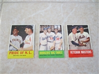 (3) 1963 Topps HOF baseball cards: Pride of NL, Dodgers Big Three, Veteran Masters