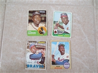 1963, 65, 67, 68 Topps Hank Aaron baseball cards in super condition!