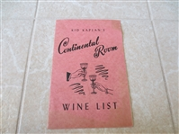 1947 Kid Kaplans Continental Room Wine List Boxing Great  Hartford, CT