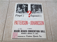 1961 Floyd Patterson vs. Ingemar Johansson Heavyweight Boxing Championship program  RARE!