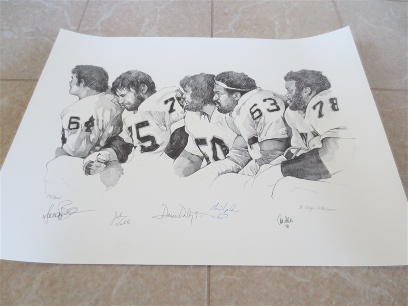 Autographed Oakland Raiders NFL Football Artist Proof 18 x 24 Gene Upshaw, Art Shell +