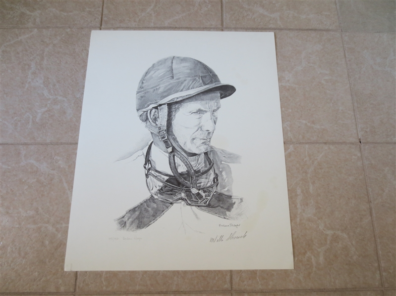 Autographed Willie Shoemakcer Horse Racing Jockey Lithograph Print 22 x 18