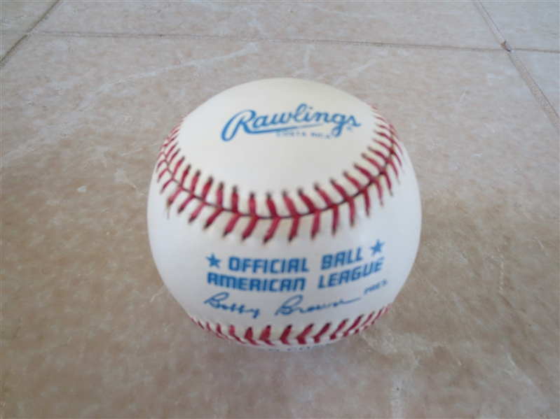 Autographed Joe DiMaggio Official American League Bobby Brown baseball
