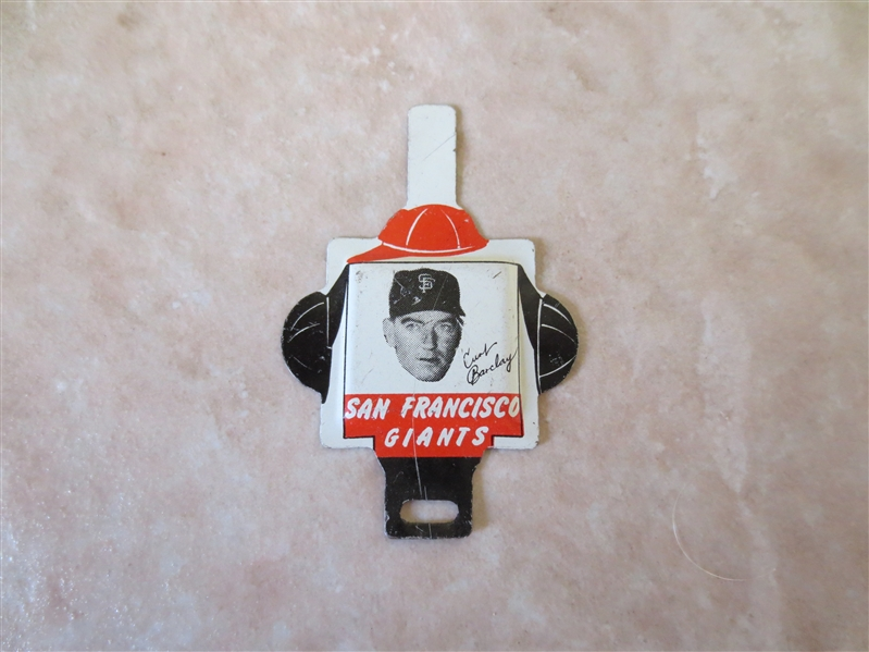 1958 Armour San Francisco Giants Tab Curt Barclay RARE