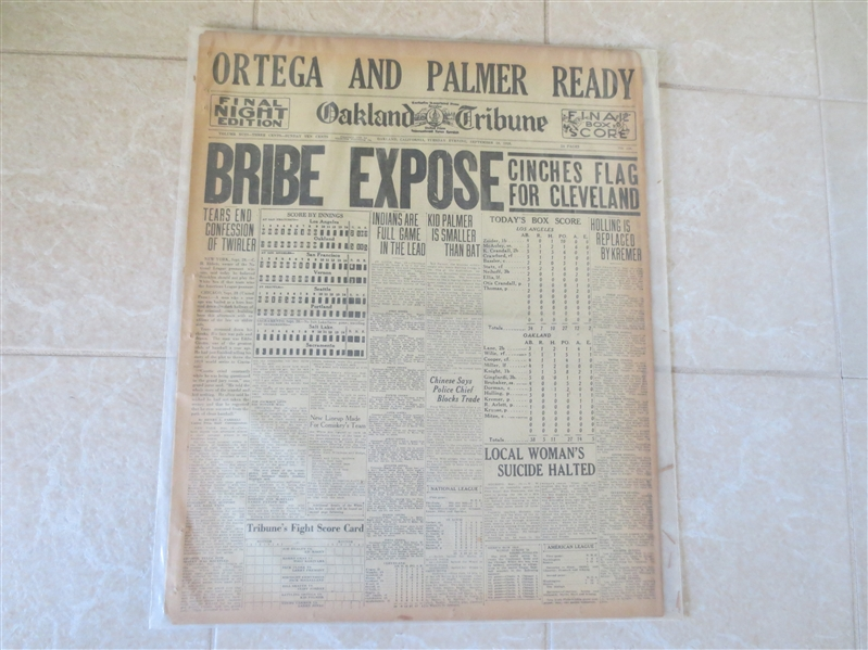1920 Cleveland Indians Clinch Pennant & PCL Bribe Scandal Revealed full newspaper Oakland Tribune