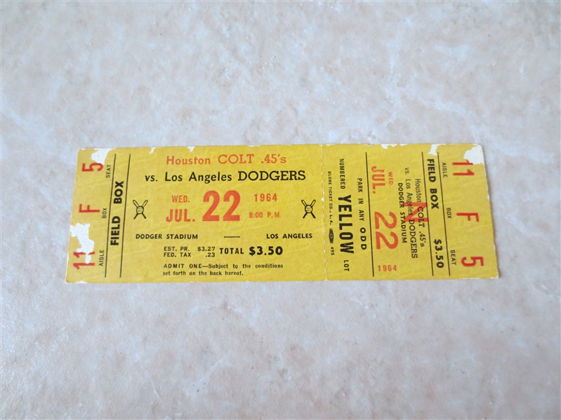1964 Koufax Wins Full ticket Houston Colt 45's at Los Angeles Dodgers