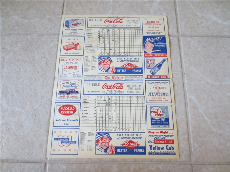 1951 Mickey Mantle 1st Road Scorecard WOW!
