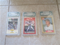 1987 Topps Tiffany Roger Clemens #340 Graded Gem Mint 10 by Advanced Grading plus two other cards graded mint